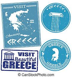 viaje, conjunto, sellos, grecia