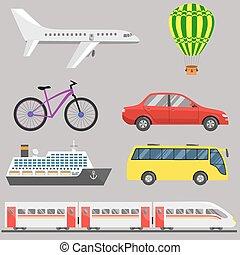 viaje, conjunto, transporte