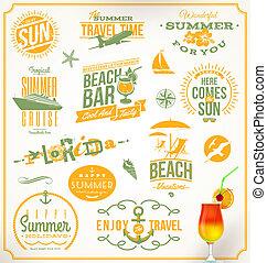 viaje, conjunto, vacaciones, emblemas