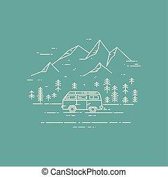 viaje de camino, vector, línea plana, ilustración, en, verde, fondo.