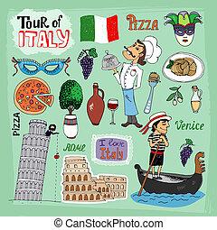 viaje, de, italia, ilustración