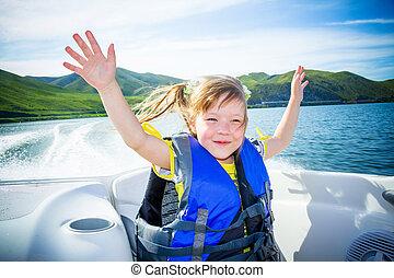 viaje, de, niños, en, agua, en, el, barco
