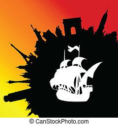 viaje del barco, a, vario, pueblos, ilustración