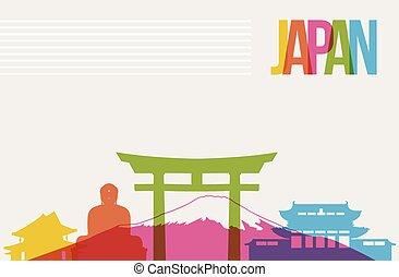 viaje destino, contorno, plano de fondo, japón, señales