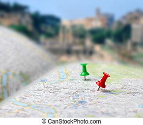 viaje destino, mapa, alfinetes empurrão, borrão