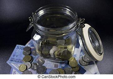 viaje, dinero, tarro de cristal, mundo, vacaciones, planificación, moneda