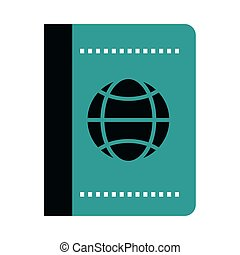 viaje, documento, pasaporte, vacaciones, plano, identificación, verano, estilo, icono