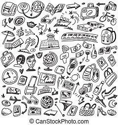 viaje, doodles