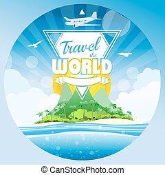 viaje, el mundo, tropical, plano de fondo