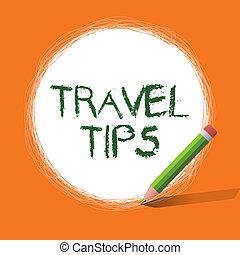 viaje, escritura, showcasing, empresa / negocio, feliz, conceptual, tips., mano, seguro, actuación, foto, viaje, vacaciones, recomendaciones, cómodo