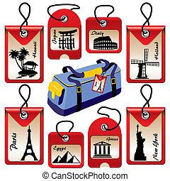 viaje, etiquetas