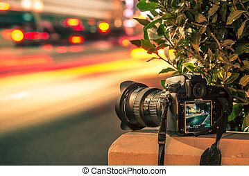 viaje, fotografía, cocept
