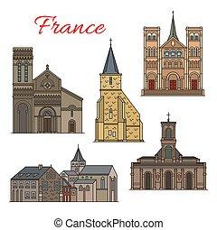 viaje, francés, havre, arquitectura, señal, icono