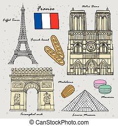 viaje, francia, concepto