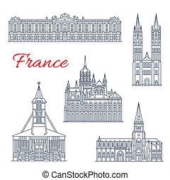 viaje, francia, diseño, delgado, señal, línea, icono