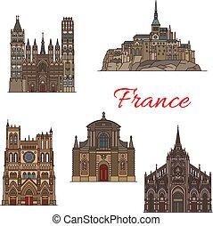 viaje, francia, diseño, señal, turismo, icono