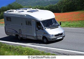 viaje, furgoneta