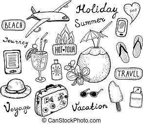 viaje, garabato, elementos, conjunto
