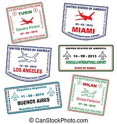 viaje, grunge, sellos, pasaporte