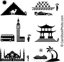 viaje, icons.