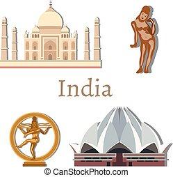 viaje, india, con, señales, vector.