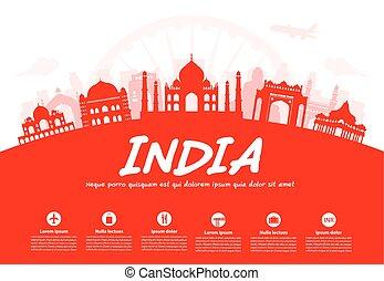 viaje, india, landmarks.