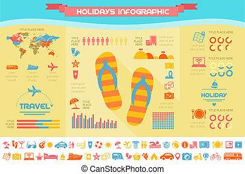 viaje, infographic, template.