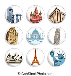viaje, insignias, |, conjunto, 1