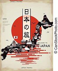 viaje, japón, mapa, diseño