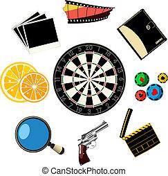 viaje, juegos, iconos