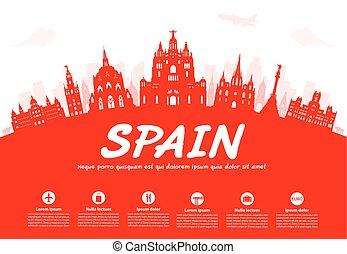 viaje, landmarks., españa