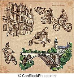 viaje, -, luxemburgo, mano, vector, dibujado, paquete