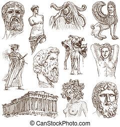viaje, -, mano, grecia, dibujado, paquete