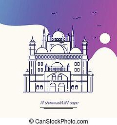 viaje, mosque de muhammad ali, cartel, template., púrpura,...