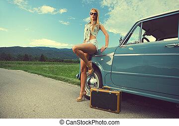 viaje, mujer