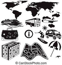 viaje, negro, iconos