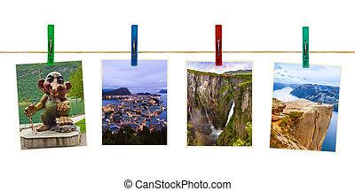 viaje, noruega, fotografía, clothespins