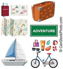 viaje, otro, artículos, conjunto, transportations