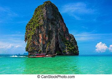 viaje, paisaje, playa, con, agua azul, y, cielo, en,...