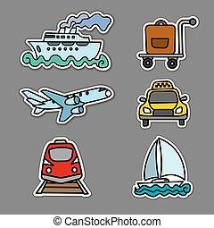 viaje, pegatinas, transporte