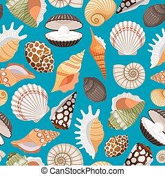 viaje, plano de fondo, conchas de mar
