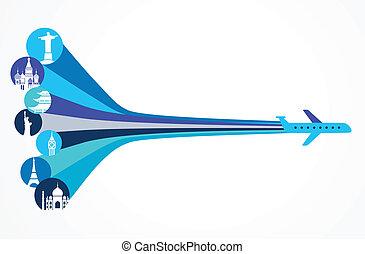 viaje, plano de fondo, -, vector