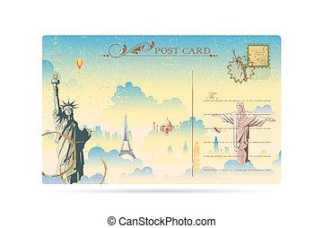 viaje, postal
