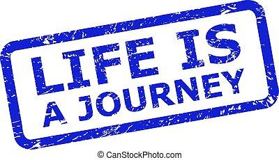 viaje, rect, vida, marco, superficie, redondeado, corroído, sello, estampilla