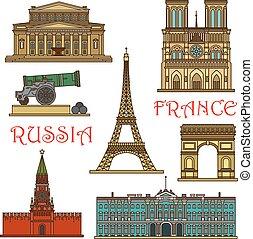 viaje, rusia, francia, línea fina, señales, icono