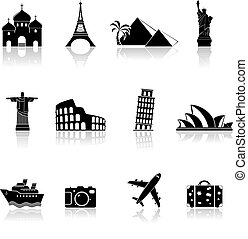 viaje, señales, iconos
