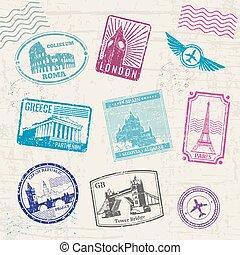 viaje, sellos, con, europa, países, landmarks., vector, colección