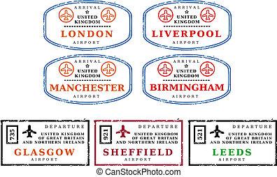 viaje, -, sellos, reino unido