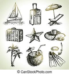 viaje, set., mano, dibujado, ilustraciones