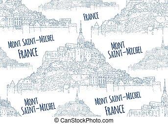 viaje, sketching., ciudad, francia, arte, vector, línea,...